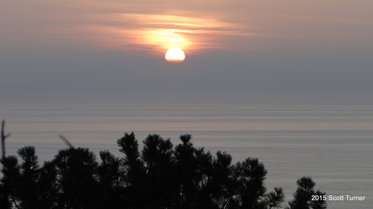 Sunset over coast and Torrey Pine Crown